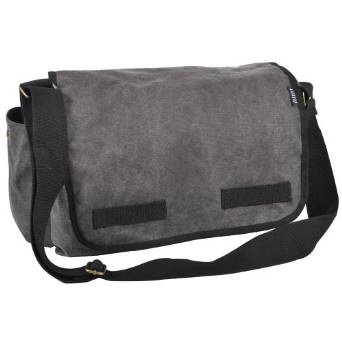 Everest Luggage Canvas Two Snap Pocket Messenger - Charcoal