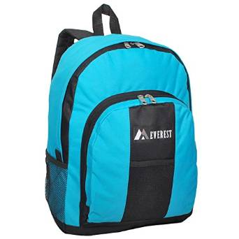 Everest Luggage Backpack with Front and Side Pockets  - Turquoise/Black
