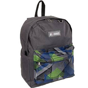 Everest Luggage Classic Backpack - Charcoal Blue Green Pocket