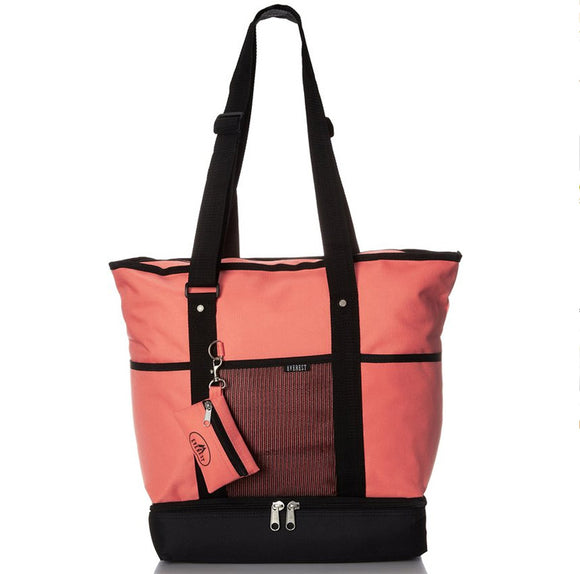 Everest Luggage Deluxe Shopping Tote - Coral