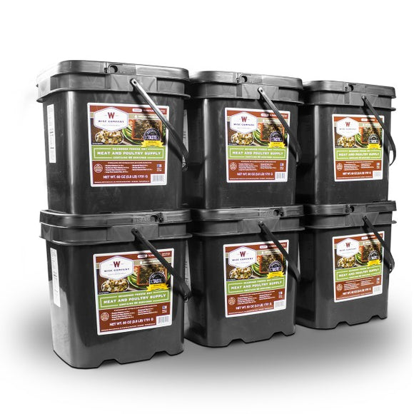 360 Serving Meat Package Includes: 6 Freeze Dried Meat Buckets