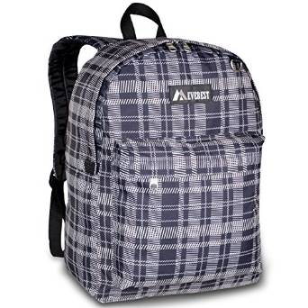Everest Luggage Classic Backpack - Black Gray Squares