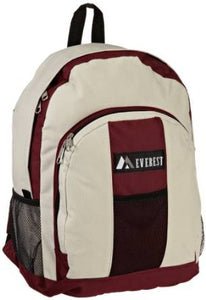 Everest Luggage Backpack with Front and Side Pockets  - Burgundy/Beige
