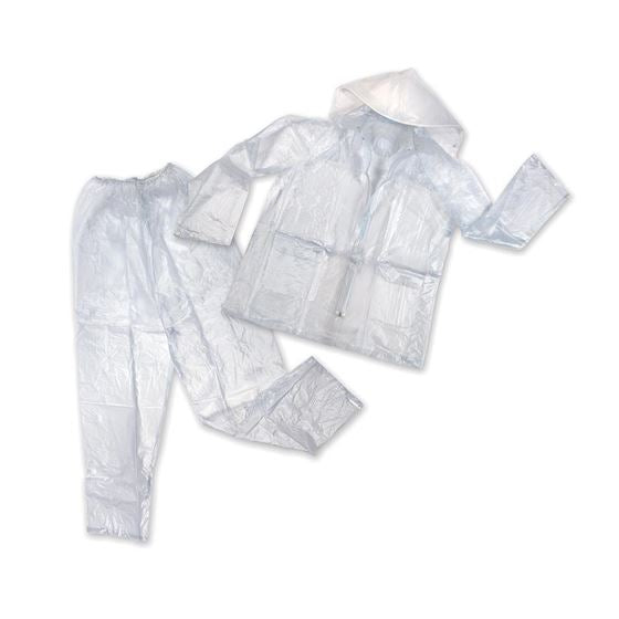 Mens Vinyl Rainsuit - Clear - 2XL