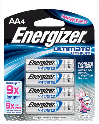 Energizer Ultimate AA Lithium Batteries (4 Per Card)