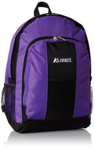 Everest Luggage Backpack with Front and Side Pockets  - Dark Purple