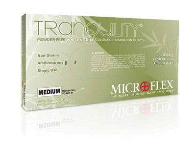 Microflex - Tranquility - Powder-Free White Nitrile Exam Gloves - Box