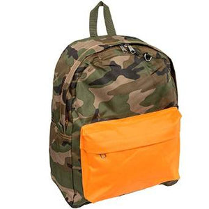 Everest Luggage Classic Backpack - Camo w/ Orange pocket