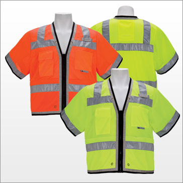 3A Safety - ANSI Class III Fire-resistant Heavy Duty Surveyor Vest - Zipper Version