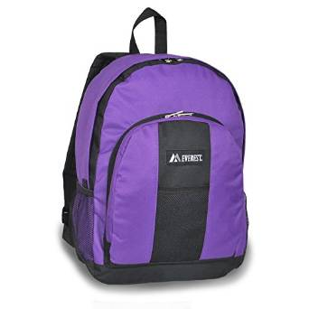 Everest Luggage Backpack with Front and Side Pockets  - Purple/Black
