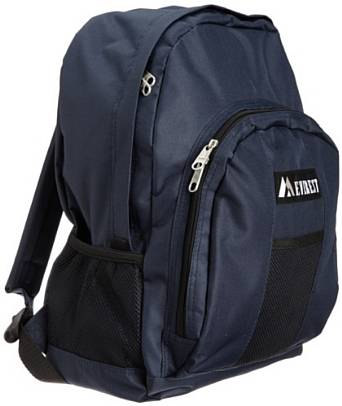 Everest Luggage Backpack with Front and Side Pockets  - Navy