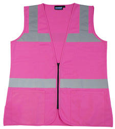 Hi-Visibility Female Fitted Pink Safety Vest