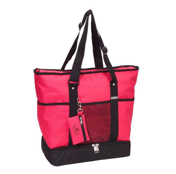 Everest Luggage Deluxe Shopping Tote - Hot Pink/Black