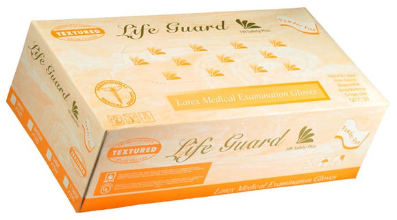 Life Guard - Blue Latex 15 mil. Textured Exam Gloves - Box
