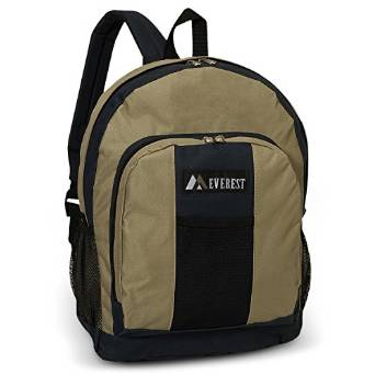 Everest Luggage Backpack with Front and Side Pockets  - Khaki/Navy