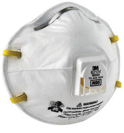 3M Standard N95 8210V Disposable Particulate Respirator With Cool Flow Exhalation Valve And Adjustable Nose Clip - Meets NIOSH And OSHA Standards