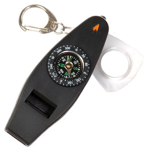 5-in-1 Whistle, Whistle, Thermometer, Magnifier, LED light, & Compass