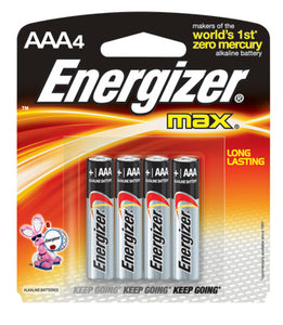 Energizer MAX AAA Alkaline Battery (4 Per Card)