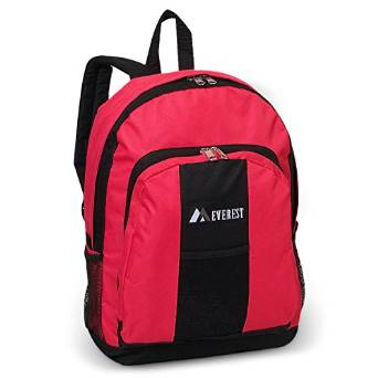 Everest Luggage Backpack with Front and Side Pockets  - Candy Pink/Black