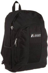 Everest Luggage Backpack with Front and Side Pockets  - Black