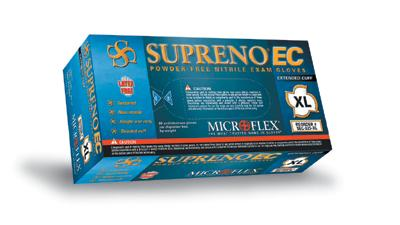 Microflex - Blue Supreno EC Nitrile Powder-Free Disposable Gloves, Textured - Box