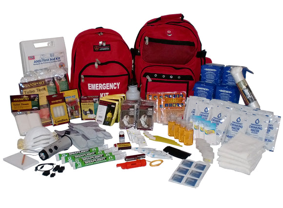 Emergency Survival Double Backpack Kit - 4-Person / 72-Hour
