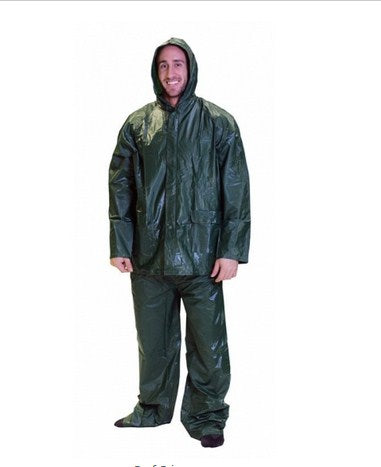 Mens Vinyl Rainsuit - Green - Large