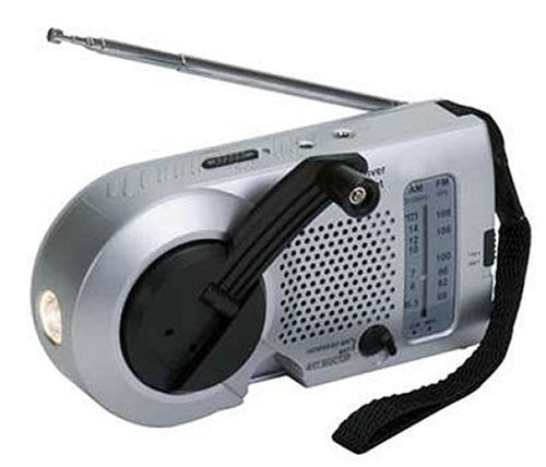 Crank Powered Heavy-Duty Compact AM/FM Radio/LED Flashlight