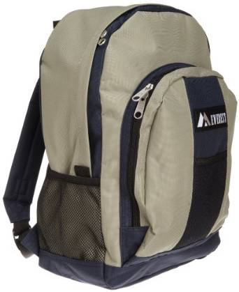 Everest Luggage Backpack with Front and Side Pockets  - Navy/Khaki