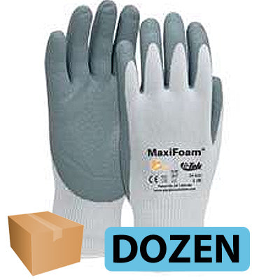G-Tek MaxiFoam Gloves Foam Nitrile Coated Palm-Finger Tips - DOZEN