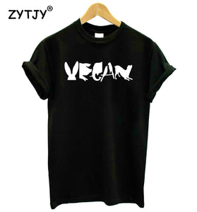 Stylist Vegan Statement Tee With Eye-Catching Animal Image Lettering
