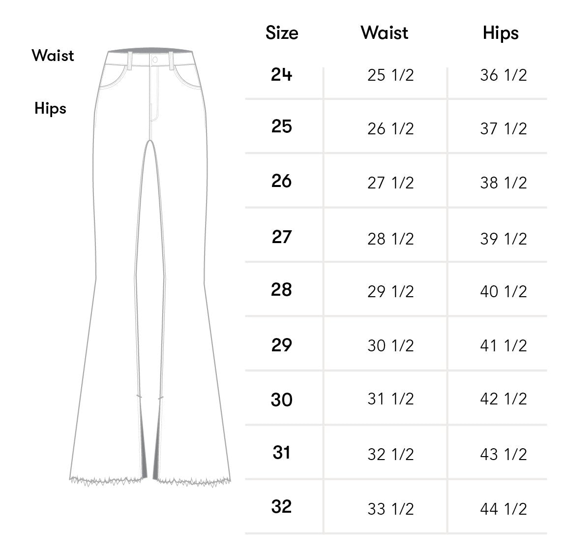 denim Size Chart