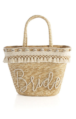 Bride Straw Tote Bag ~ Natural