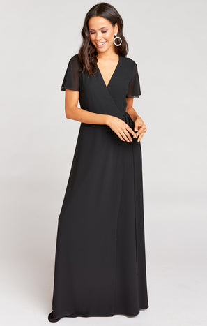 Noelle Flutter Wrap Dress ~ Black Chiffon