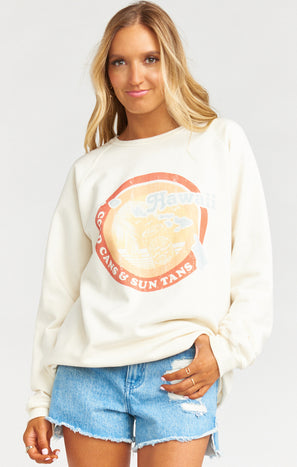 Salty Sweatshirt ~ Cold Cans & Sun Tans Graphic