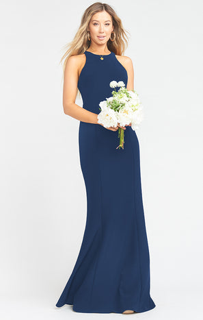 Chicago High Neck Gown ~ Rich Navy Stretch Crepe