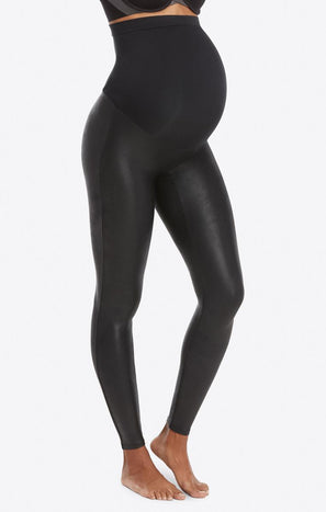 SPANX Mama Faux Leather Leggings ~ Black