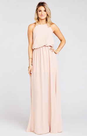 Heather Halter Dress ~ Dusty Blush Crisp