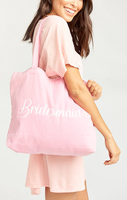 Bridesmaid Tote ~ Pink/White