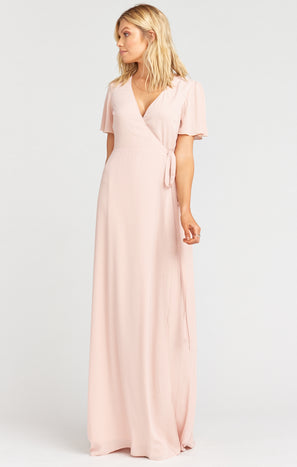 Noelle Flutter Wrap Dress ~ Dusty Blush Crisp