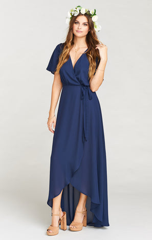 Sophia Wrap Dress ~ Rich Navy Crisp