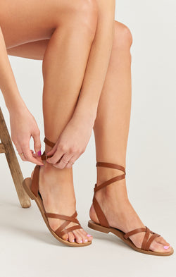 Steve Madden Matas Wrap Up Sandals ~ Cognac