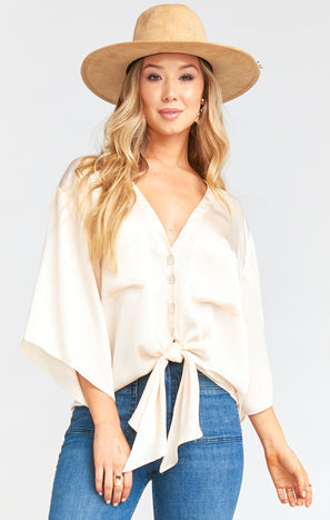 Ruby Top ~ Washed Satin Cream