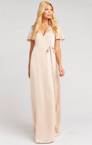 Noelle Flutter Wrap Dress ~ Champagne Luxe Satin