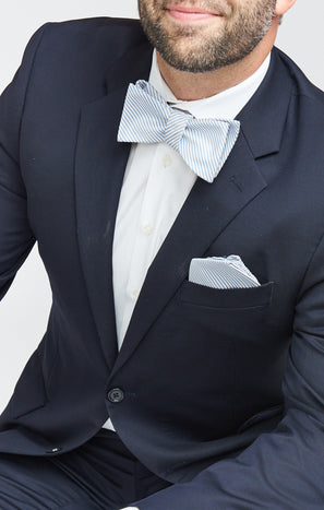 Josh Bow Tie ~ Steel Blue Stripe