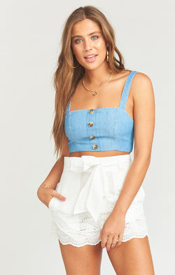 Adeline Crop Top ~ Anchor Chambray