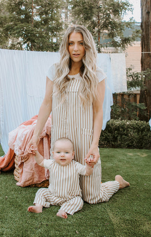 Run Around Jumpsuit ~ Beige Everyday Stripe