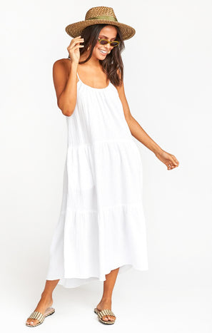 May Maxi Dress ~ White Crinkle Gauze