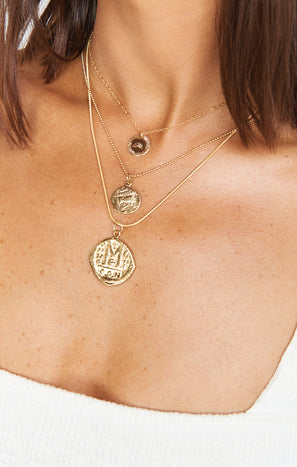 Paradigm Sun Stamp Coin Necklace ~ Gold