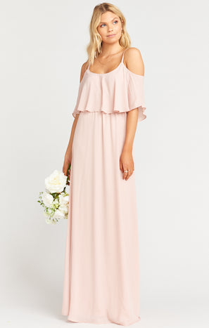 Caitlin Ruffle Maxi Dress ~ Dusty Blush Crisp